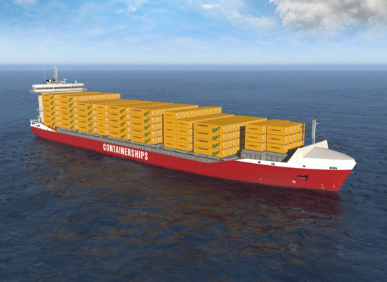 L'un des quatre navires GNL en cours de construction par Containerships © Containerships