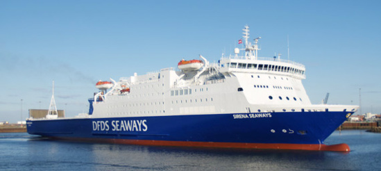 "Le ""Sirena Seaways"" touchera Le Havre, Portsmouth et Bilbao pour Brittany Ferries © DFDS"