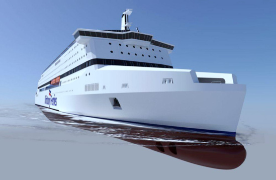 Brittany Ferries a suspendu son projet de construction d'un navire à propulsion GNL, Pegasis (Power Efficient Gas Innovative Ship) en collaboration avec les chantiers STX ©  Brittany Ferries