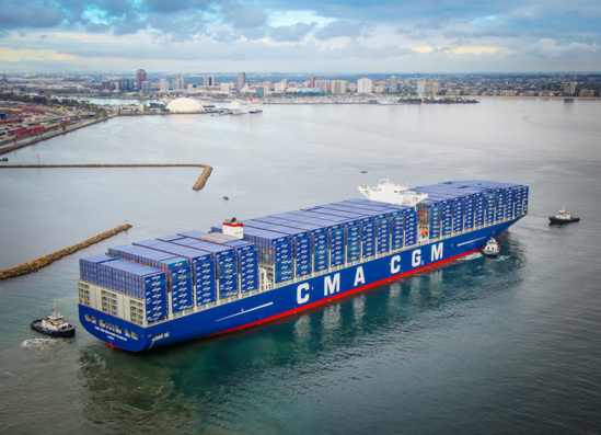 "Le ""CMA CGM Benjamin Franklin"", qui escale à Long Beach depuis décembre, restera affecté au service Pearl River Expres © Port of Long Beach"