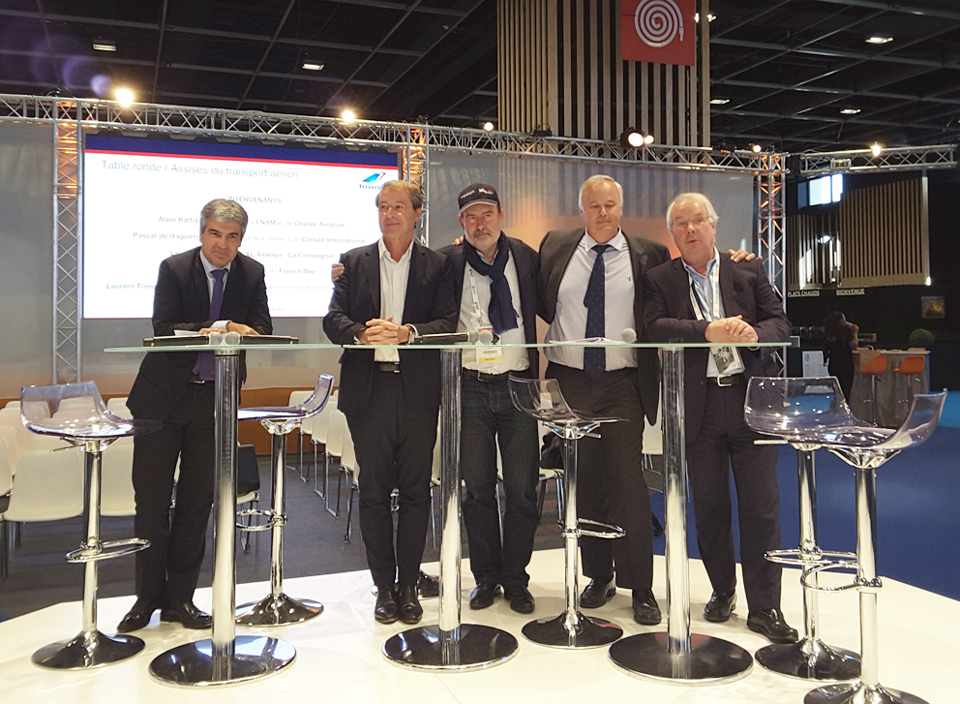 De gauche à droite : Laurent Timsit directeur des affaires internationales et institutionnelles d'Air France-KLM, Pascal de Izaguirre PDG de Corsair International, Laurent Magnin PDG de XL Airways-La Compagnie, Alain Battisti président de la FNAM et de Chalair Aviation et Marc Rochet président de French Bee © ED